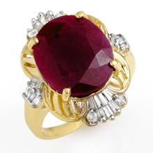 Natural 6.70 ctw Ruby & Diamond Ring 10K Yellow Gold - 12724-#49X2Y