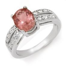 Genuine 2.33 ctw Pink Tourmaline & Diamond Ring 14K White Gold - 14241-#65P7X