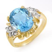 Genuine 5.22 ctw Blue Topaz & Diamond Ring 10K Yellow Gold - 13265-#26F7M