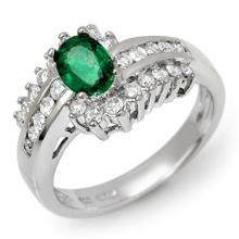 Genuine 1.45 ctw Emerald & Diamond Ring 18K White Gold - 11889-#79H7W