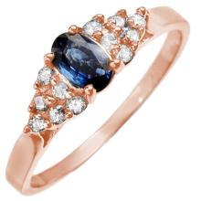 Natural 0.50 ctw Blue Sapphire & Diamond Ring 14K Rose Gold - 10010-#21Z3P