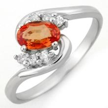 Natural 0.70 ctw Orange Sapphire & Diamond Ring 10K White Gold - 10346-#15F8M