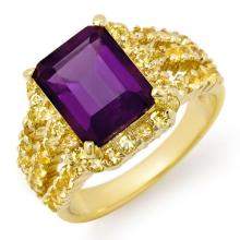 Natural 4.0 ctw Yellow Sapphire & Amethyst Ring 10K Yellow Gold - 11730-#47P2X