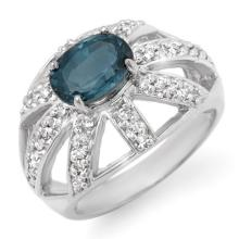 Natural 1.90 ctw Blue Sapphire & Diamond Ring 14K White Gold - 10724-#56K8T
