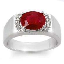 Natural 3.10 ctw Ruby & Diamond Men's Ring 10K White Gold - 14474-#42K8T