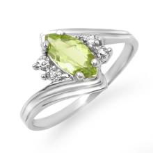 Genuine 0.48 ctw Peridot & Diamond Ring 10K White Gold - 12787-#12N2F