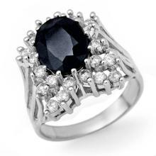 Natural 5.15 ctw Blue Sapphire & Diamond Ring 18K White Gold - 13506-#129M5G