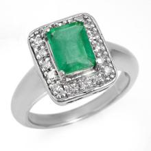 Genuine 2.03 ctw Emerald & Diamond Ring 18K White Gold - 13641-#67H8W