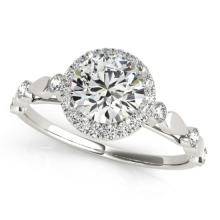 Genuine 1.0 CTW Certified Diamond Bridal Solitaire Halo Ring 18K White Gold - 26410-REF#156V2F