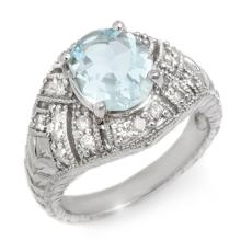 Genuine 3.60 ctw Aquamarine & Diamond Ring 14K White Gold - 10539-#89P7X