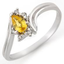 Genuine 0.35 ctw Yellow Sapphire & Diamond Ring 18K White Gold - 10895-#23A8N