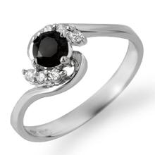 Genuine 0.50 ctw Black & White Diamond Ring 14K White Gold - 14037-#22H9W