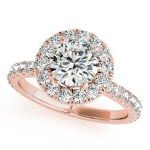 Genuine 1.75 CTW Certified Diamond Bridal Solitaire Halo Ring 18K Rose Gold - 26300-REF#304W2K