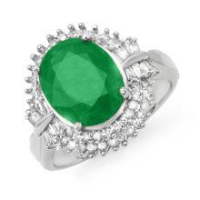 Genuine 5.04 ctw Emerald & Diamond Ring 14K White Gold - 14097-#90V8A