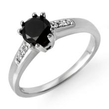 Natural 1.10 ctw Black & White Diamond Solitaire Ring 14K White Gold - 11796-#29F2M