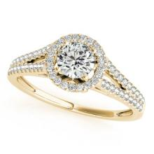 Genuine 1.30 CTW Certified Diamond Bridal Solitaire Halo Ring 18K Yellow Gold - 26648-REF#286Z4Y