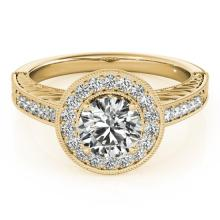 Genuine 0.81 CTW Certified Diamond Bridal Solitaire Halo Ring 18K Yellow Gold - 26520-REF#113W8K