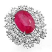 Genuine 12.16 ctw Ruby & Diamond Ring 18K White Gold - 12967-#297F3M