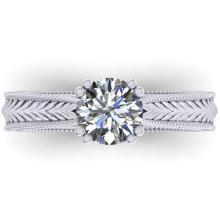 Genuine 1.06 CTW Solitaire Engagement Certified Diamond Ring 18K Art Deco Gold - 32834-REF#258V8F