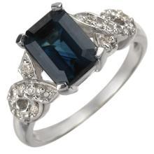 Genuine 3.25 ctw Blue Sapphire & Diamond Ring 14K White Gold - 11003-#38N2F