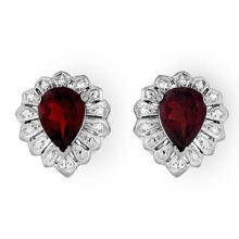 Genuine 2.20 ctw Garnet Earrings 18K White Gold - 13591-#25F8M