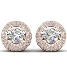 Genuine 1.75 CTW Certified Diamond Art Deco Micro Halo Stud Earrings 18K Gold - 32748-REF#177V2F