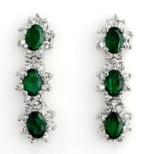 Natural 4.88 ctw Emerald & Diamond Earrings 14K White Gold - 11300-#95P8X