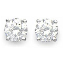 Natural 1.0 ctw Diamond Solitaire Stud Earrings 14K White Gold - 12266-#98N8F