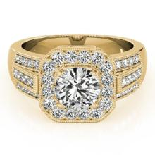 1.50 CTW Certified Diamond Bridal Solitaire Halo Ring 18K Yellow Gold - 26894-REF#221V3A