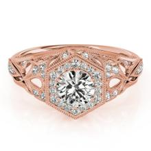 1.40 CTW Certified Diamond Bridal Solitaire Halo Ring 18K Rose Gold - 26869-REF#300N8F
