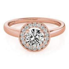 1.15 CTW Certified Diamond Bridal Solitaire Halo Ring 18K Rose Gold - 26318-REF#273V8A