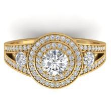 1.50 CTW Certified Diamond Art Deco 3 Stone Halo Ring 18K Yellow Gold - 32632-REF#156Y6X