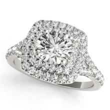 1.45 CTW Certified Diamond Bridal Solitaire Halo Ring 18K White Gold - 26235-REF#183T3Z