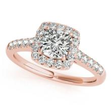 1.45 CTW Certified Cushion Diamond Bridal Solitaire Halo Ring 18K Rose Gold - 27127-REF#311X3Y