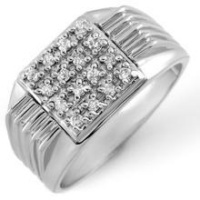 Natural 0.25 ctw Diamond Men's Ring 10K White Gold - 10066-#40M8G