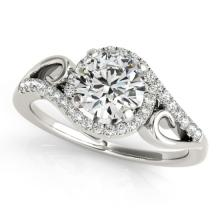 0.75 CTW Certified Diamond Bridal Solitaire Halo Ring 18K White Gold - 26847-REF#111K3R