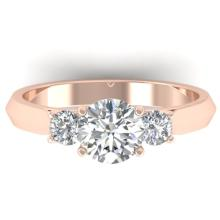 1.50 CTW Certified Diamond Solitaire 3 Stone Ring 14K Rose Gold - 30313-REF#261Z6T