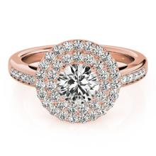 0.85 CTW Certified Diamond Bridal Solitaire Halo Ring 18K Rose Gold - 26456-REF#95X3Y