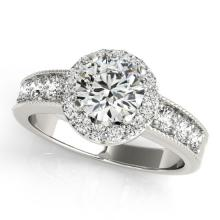 2.10 CTW Certified Diamond Bridal Solitaire Halo Ring 18K White Gold - 27066-REF#376R9K
