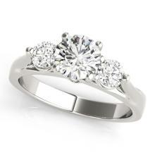 1.25 CTW Certified Diamond 3 Stone Bridal Ring 18K White Gold - 27999-REF#194M8G