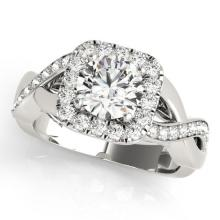 1.65 CTW Certified Diamond Bridal Solitaire Halo Ring 18K White Gold - 26191-REF#309F2N