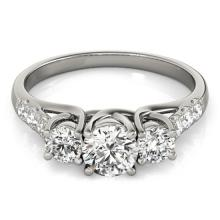 1.33 CTW Certified Diamond 3 Stone Bridal Ring 18K White Gold - 28083-REF#177F2N
