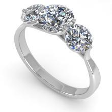 2 CTW Solitaire Past Present Future Certified Diamond Ring Martini 14K White Gold - 14411-REF#325X8Y