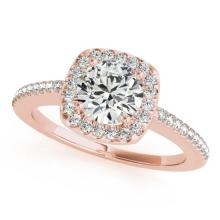 1.25 CTW Certified Diamond Bridal Solitaire Halo Ring 18K Rose Gold - 26603-REF#281F8N