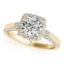 1.35 CTW Certified Diamond Bridal Solitaire Halo Ring 18K Yellow Gold - 26250-REF#171W5H