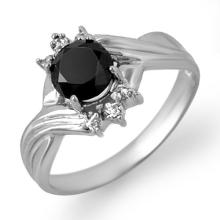 Genuine 1.02 ctw Black & White Diamond Ring 10K White Gold - 14063-#27G2R