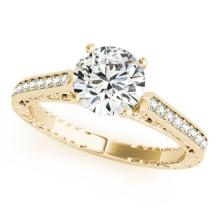 0.40 CTW Certified Diamond Solitaire Bridal Antique Ring 18K Yellow Gold - 27365-REF#65Z8T