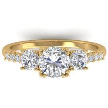1.50 CTW Certified Diamond Art Deco 3 Stone Ring 18K Yellow Gold - 32719-REF#182G3M