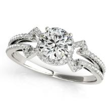 0.90 CTW Certified Diamond Solitaire Bridal Ring 18K White Gold - 27966-REF#108N2F