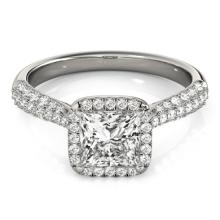 1.15 CTW Certified Princess Diamond Bridal Solitaire Halo Ring 18K White Gold - 27093-REF#190H5W